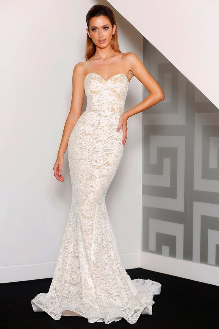 Miss Runway Fashion - Charlie Lace Formal Gown - Ivory
