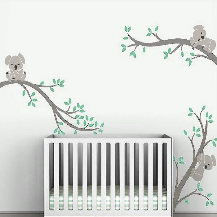 Muursticker drie grijze takken met koala beertjes