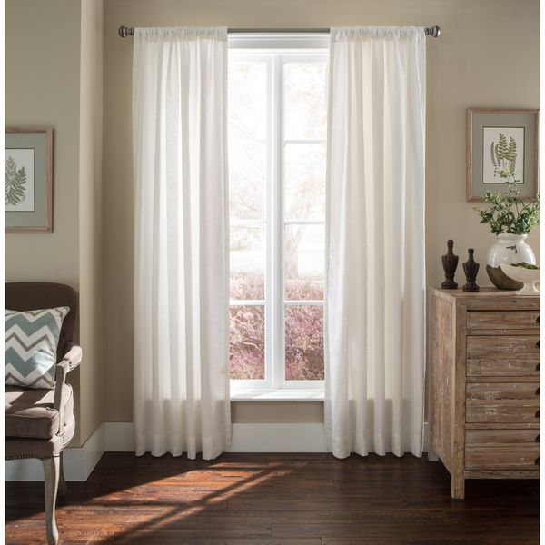Luxury Linen White Lined  Curtain Panel | Overstock.com Shopping - The Best Deals on Curtains