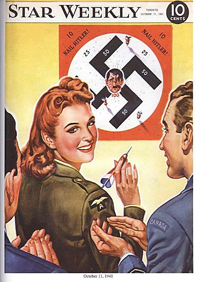 Cover from the Star Weekly, dated October 11, 1941, showing a woman in a Canadian uniform throwing darts at Hitler's face.