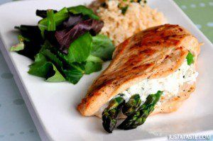 Asparagus and Goat Cheese Stuffed Chicken Recipe. Used Reg goat cheese and added garlic and red pepper spice and some crushed red pepper flakes.