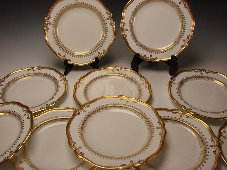 Details about Antique Spode Copeland China Elegant Gilt Porcelain Dinner Plate Set of 10 c1900 : antique dinner plate - pezcame.com