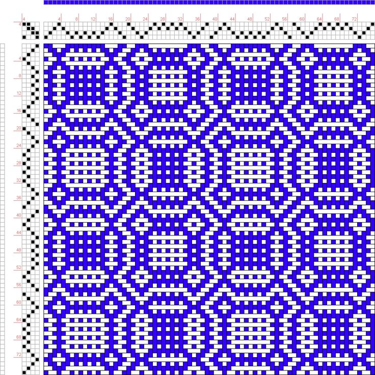 draft image: Threading Draft from Divisional Profile, Tieup: Crackle Design Project, Draft #13298, 4S, 4T