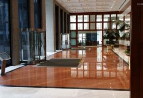 Commercial Lobby - Polished Marble and Granite Floor  Scope of work: grind floor flat, sand, polish and protect floor with a two-step penetrating sealer.