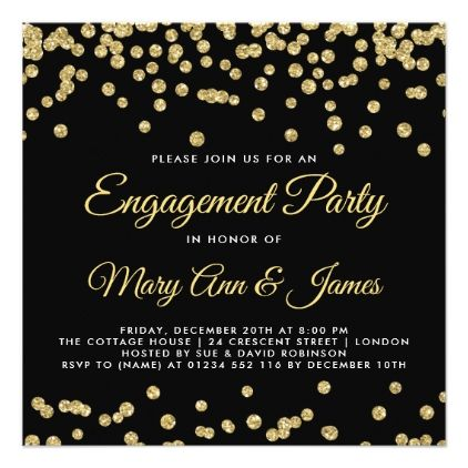 Gold Faux Glitter Confetti Engagement Party Black Card - engagement gifts ideas diy special unique personalize