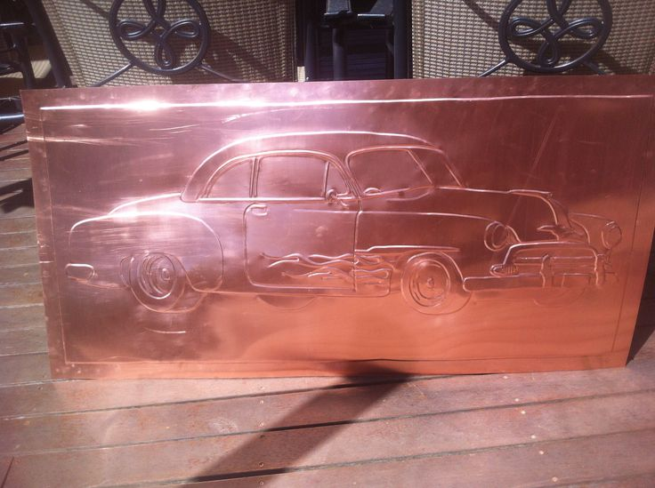 copper pressed 51 chevy coupe measures 1200 x 600mm