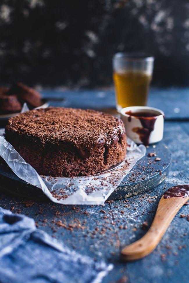 Yogurt Banana Chocolate Cake is a super moist cake with lots of chocolate elements in it. Yogurt keeps the cake moist and banana add that sweet flavor!