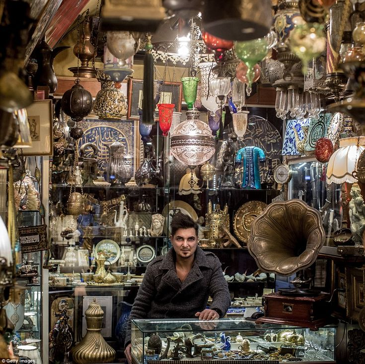 Timur Yildirim sells a classic collection of goods inside his stop on the Istanbul Grand B...