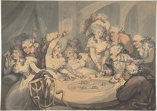"""A Gaming Table at Devonshire House"",1791 Thomas Rowlandson"