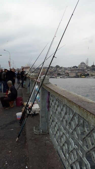 Fishermen at Galata Bridge - amateurs are welcome too with a small shop nearby selling fishing tools
