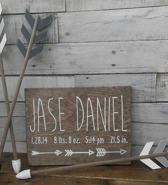 Birth Announcement Wood Sign Wall Art Decor Baby Stats