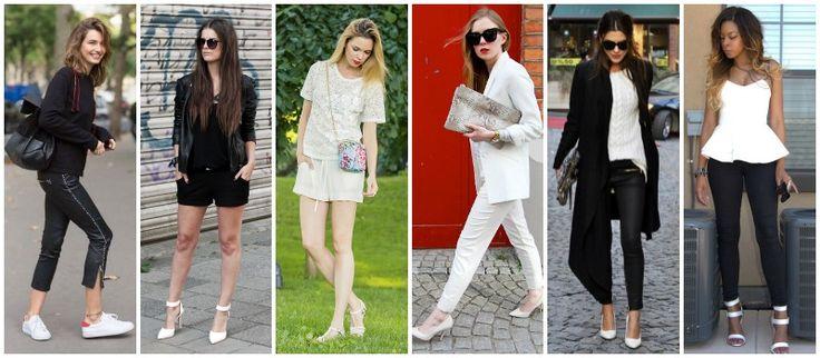 looks preto e branco Trend: A invasão do sapato branco!