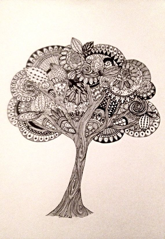 Tree Zentangle Art Drawing Black and White by TheEclecticElephant, $100.00