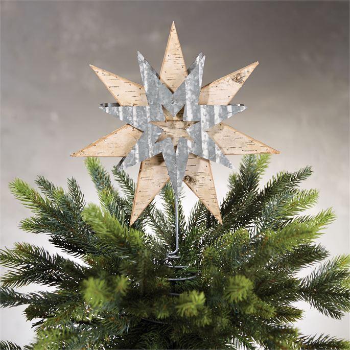 Birch Wood Tin Star Tree Topper Christmas Tree Topper Wood Rustic Tree Topper Tree Toppers
