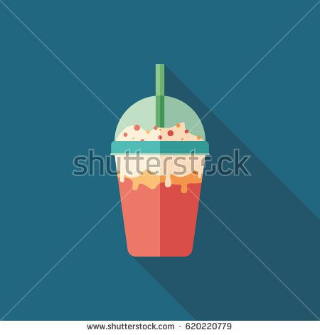 Strawberry and cream milkshake flat square icon with long shadows. #foodicons #summericons #flaticons #vectoricons #flatdesign