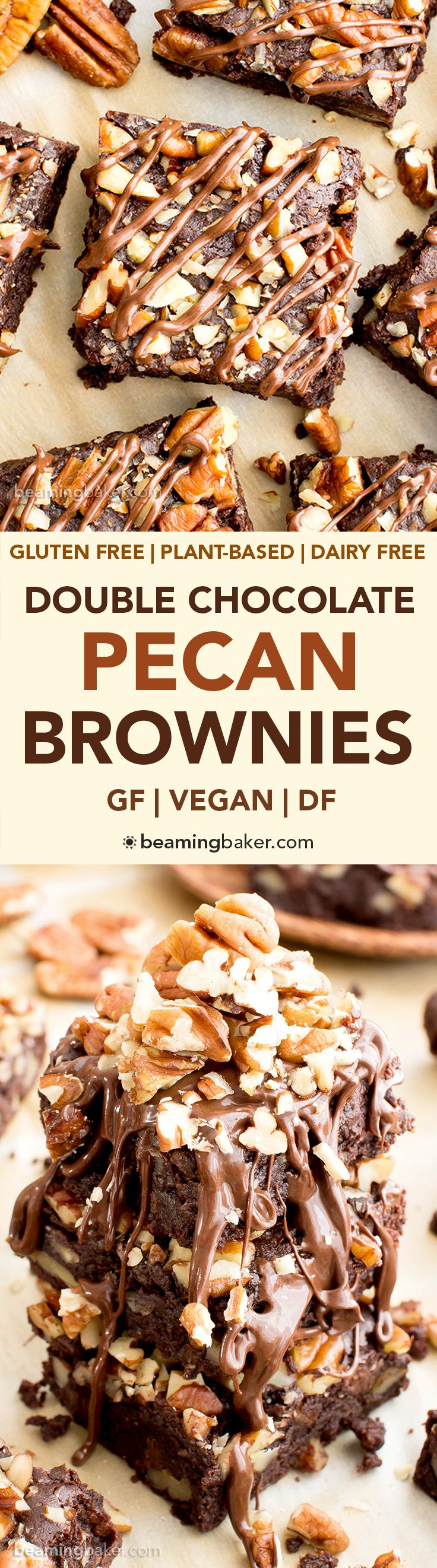 Double Chocolate Pecan Brownies (V, GF, DF): an easy recipe for rich, fudgy brownies packed with pecans and chocolate drizzle. #Vegan #GlutenFree #DairyFree   BeamingBaker.com