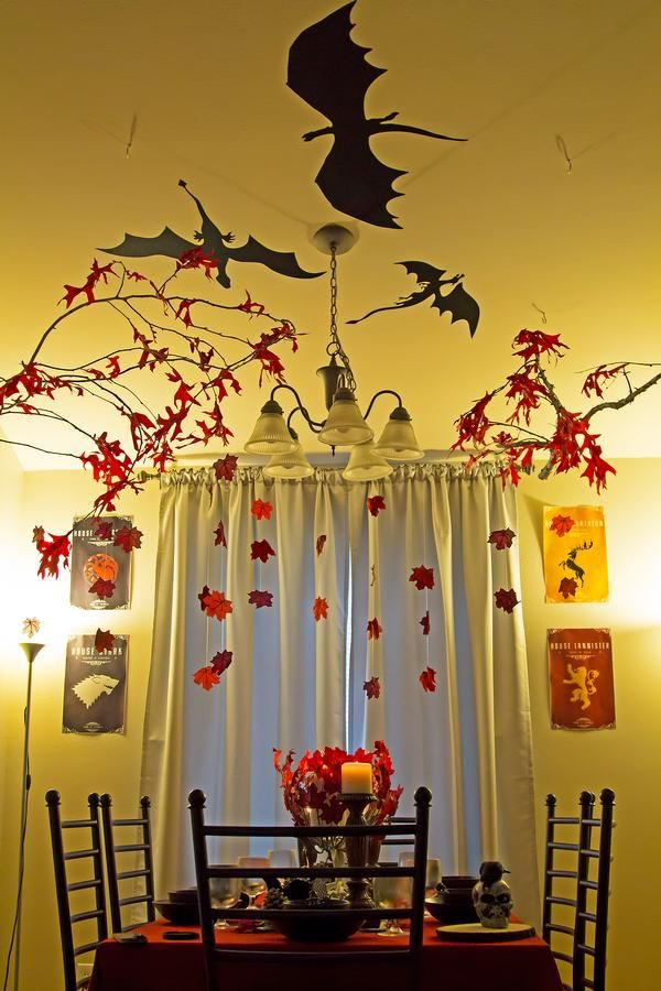 game of thrones party decor love the dragon silhouettes. Black Bedroom Furniture Sets. Home Design Ideas