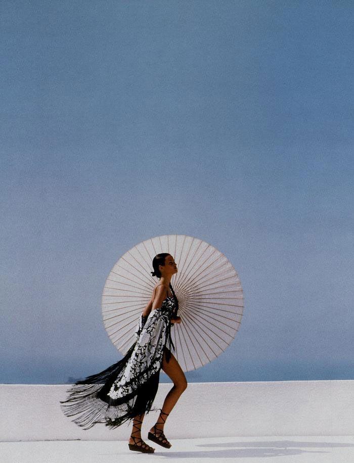 Twirl away your Monday blues. Harper's BAZAAR, 1992. Photograph by Patrick Demarchelier, Model Claudia Mason