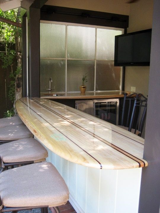 Surfboard Tabletop For An Outdoor Patio Bar