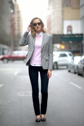 rose quartz  sweater with office outfit