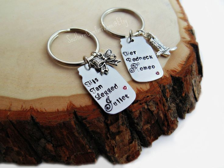 His and Hers Mason Jar Key Chains- Country Couple- Her Redneck Romeo His Tan Legged Juliet - Love - Relationship - Redneck - Browning Camo by SouthernComfortZone on Etsy