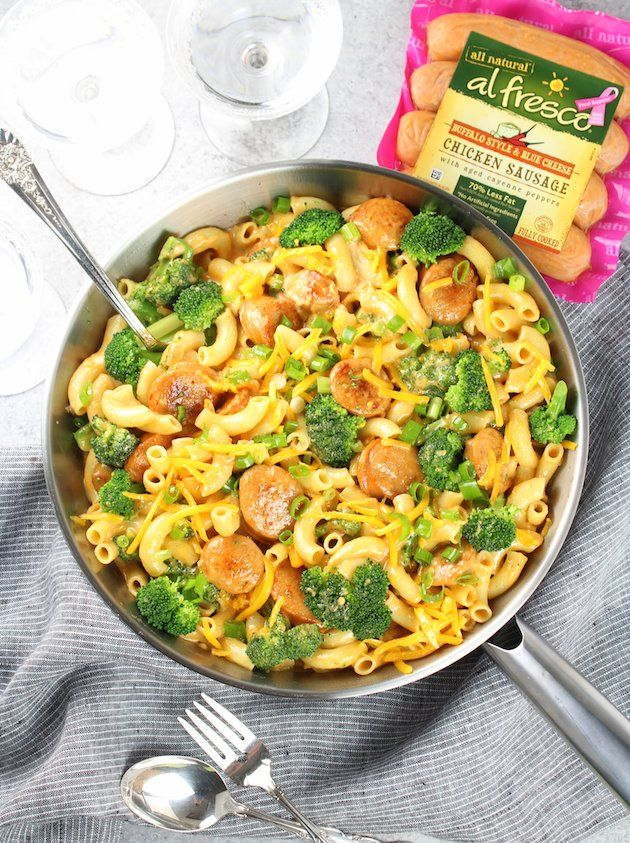 Talk about an easy weeknight dinner! Add some al fresco fully cooked Buffalo Style Chicken Sausage to this Macaroni & Cheese recipe and you've got a winning recipe that families of all ages will enjoy. Ready in less than 30 minutes -- can't beat it!