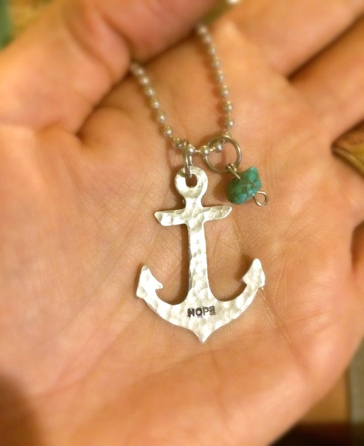 SaLe FREE colored stones add on option! Hope Anchors the Soul Heb 6:19 Anchor hammered  Necklace~ - pinned by pin4etsy.com