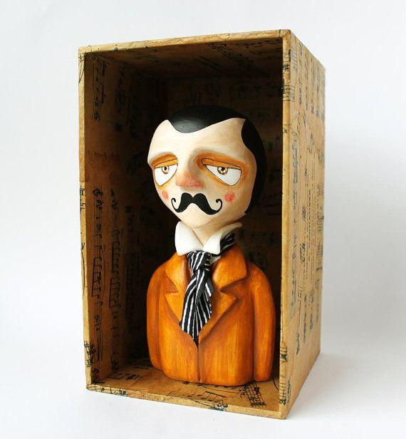 Victorian moustache gentleman bust  Art figurine  by sweetbestiary