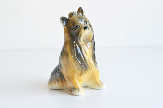 Dog china figurine, Yorshire terrier, brown by itsvintageindeed on Etsy