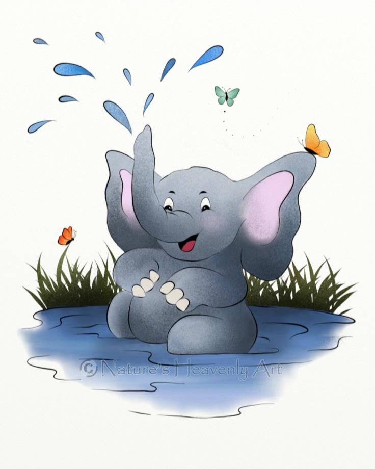 Elephant Childrens Art, Jungle Animal Nursery Print, 8 x 10 Print, Bathroom Wall Art. $16.00, via Etsy.