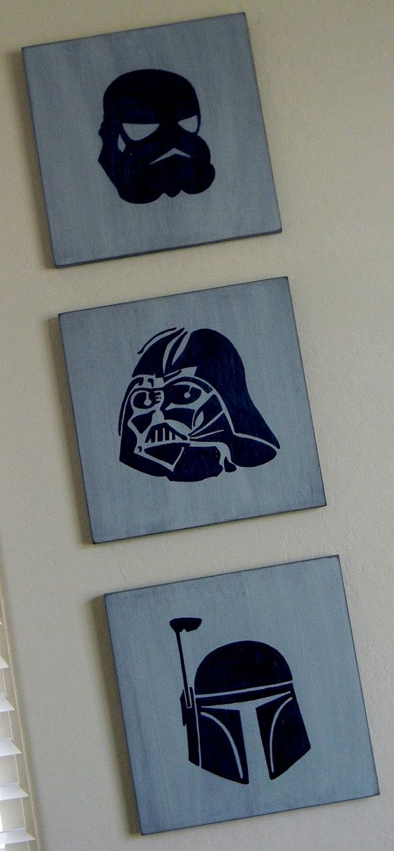 star wars custom painted wooden wall plaque 12x12 sizedarth vaderstorm trooper - Bedroom Wall Plaques