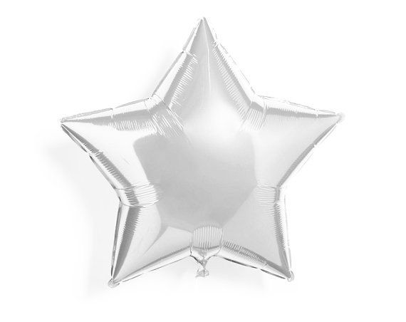 Silver Star Balloon  Foil Star Balloon  45cms  Baby by pingosdoceu