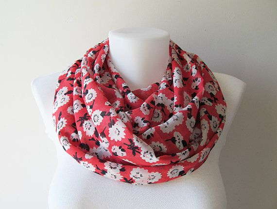 Coral Red Infinity Scarf Floral Pattern by NaryasSewingCorner