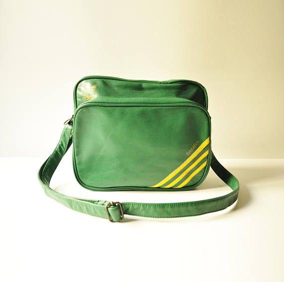 Vintage Adidas Samba Sports Bag  Brazil  Vinyl Green Yellow