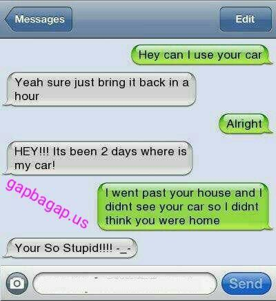 #Hilarious Text Message About Friend vs. Car