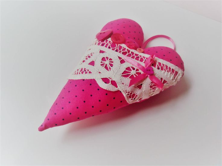 Hanging Heart, Hanging Fabric Heart, Doorknob Hanger, Hot Pink Fabric Heart, Decorative Heart by SammieJos on Etsy