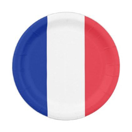 Patriotic paper plate with flag of France - kitchen gifts diy ideas decor special unique individual customized
