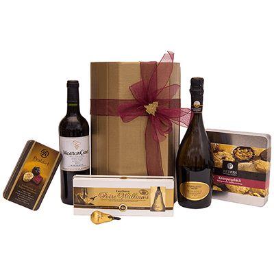 Cadou pentru Craciun A31. #Cadou pentru #Craciun include #Prosecco Canaletto Autentico Italiano, #vin roșu sec cupaj Mouton Cadet 2013 Baron Philippe de Rothschild Franța, specialități de patiserie germană premium Peters, #praline și cupe din #ciocolata belgiană premium Mini Tin Pralibel, ciocolată neagră extra fină Williams Abtey Franța. Produsele de calitate vine ambalate intr-o cutie tip #cufar, potrivita pentru #angajati si #parteneri de afaceri cu ocazia sarbatorilor de iarna.