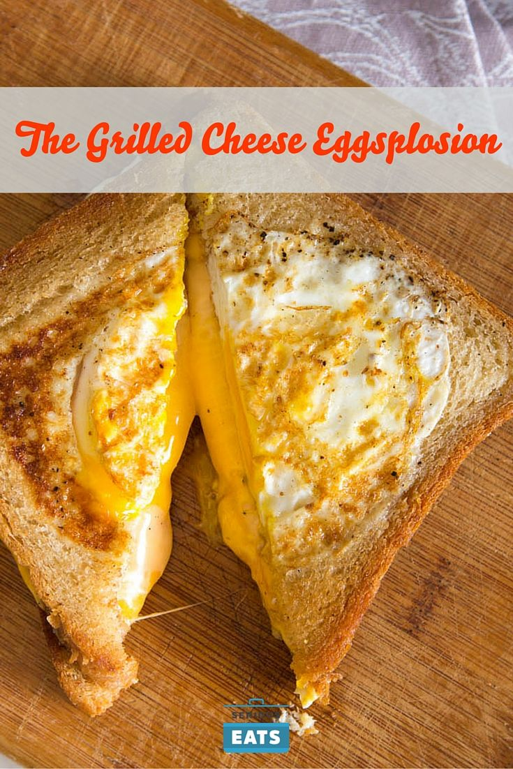 One of my favorite breakfasts: cut a hole out of a slice of bread, cook in butter, break an egg into the hole. Well, we wondered what would happen if we built a grilled cheese out of two of those bad boys. We did it, and deliciousness ensued.