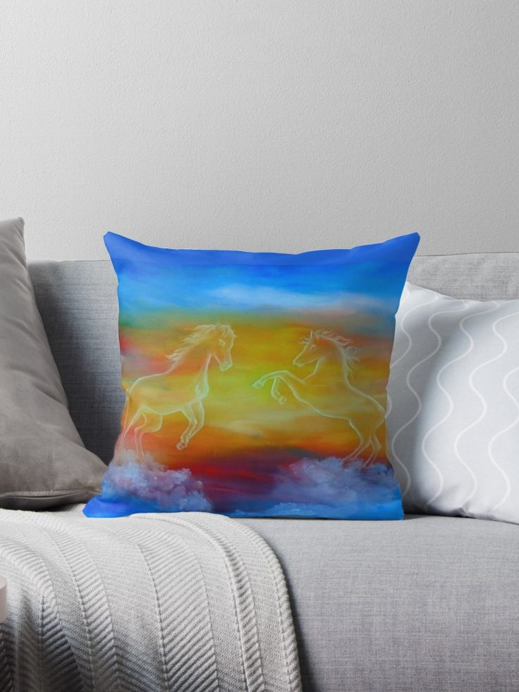 Interior Decor, Inspiration, ideas, items, for sale, colorful, blue, horses, sunset, sky, fantasy, contemporary, unique, impressive, cool, artistic, Throw Pillow
