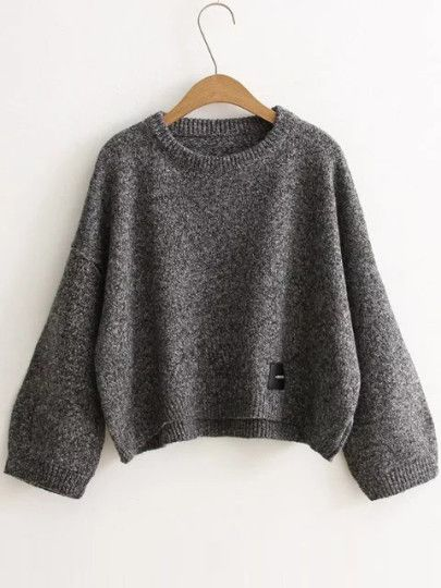 Dark Grey Patch Detail Drop Shoulder Sweater