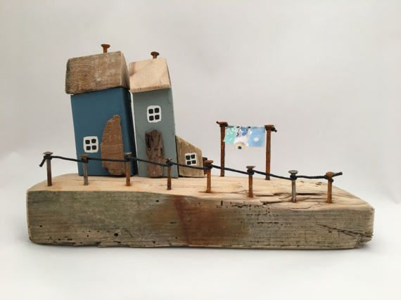 Little Wooden Houses Miniature Blue Driftwood Cottages