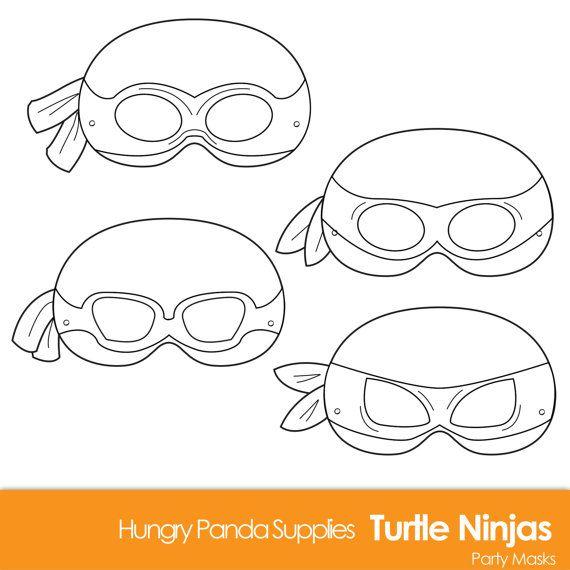Turtle Ninja DIY Printable Black and White Line Art Masks