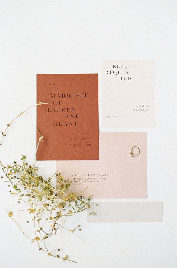 second wedding invitations wording%0A Modern minimal fall wedding inspiration in a loft