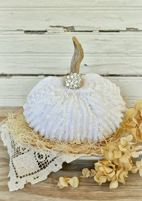 Love this chenille pumpkin, the bling, the vintage lace- Gorgeous ! (from Timewashed)