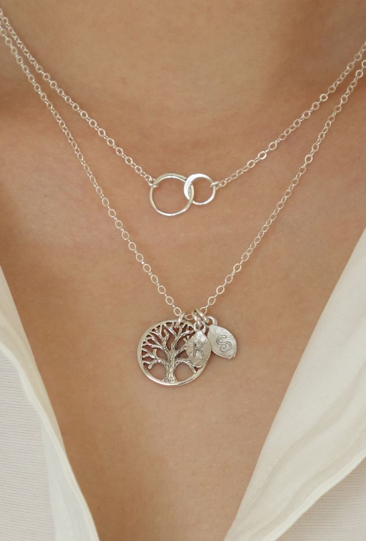 Layered Gift Family Tree Necklace Mother Necklace Initial Personalized Interlocking Silver Circle Necklace Grandmother Jewelry Holiday Gift by Popsicledrum on Etsy https://www.etsy.com/listing/255949927/layered-gift-family-tree-necklace-mother