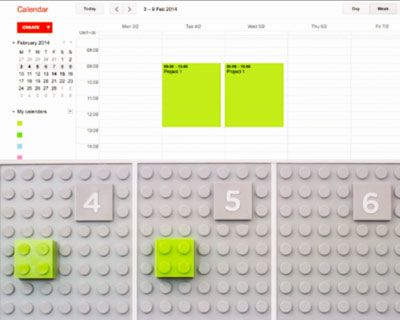 made entirely of LEGO bricks, the cloud-based time planner digitally syncs up with google calendar or iCal.