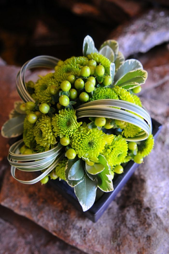 art floral moderne, couleur lime