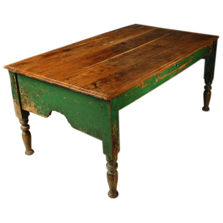 Mexican Hacienda Table With Original Paint. Mexico Early 19th Century