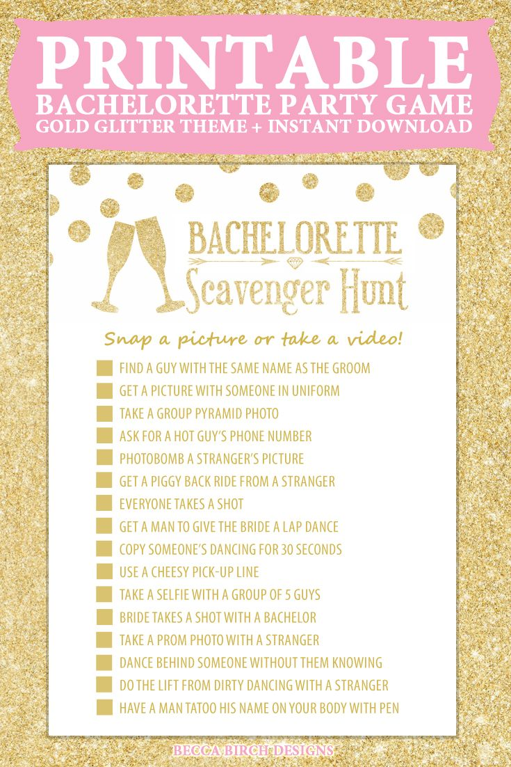 Bachelorette Scavenger Hunt - Not Dirty - Fun, Clean Game - Bachelorette Party - Printable Game